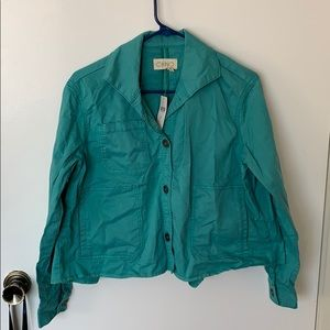 teal button up jacket, anthropologie, size xs